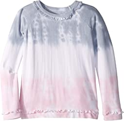 Extra Soft Cozy Knit Long Sleeve Ruffle Raglan Pullover Top (Little Kids/Big Kids)