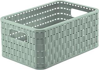 Rotho Country Boîte de Rangement 6 l en Rotin, Plastique (PP) sans BPA, Turquoise, A5/6 l (28,0 X 18,5 X 12,6 cm)