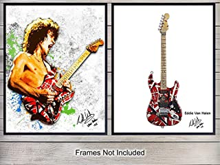 Eddie Van Halen and Guitar Wall Art Print Posters - Unique Home Decor for Man Cave, Game or Rec Room - Inexpensive Gift for 80's Eighties Music Fans and Musicians - (Set of Two) 8x10 Photos Unframed