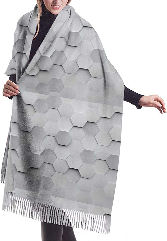 Womens Comfortable Cashmere Scarf,Hexagons Shawl Scarf,Premium Large Pashmina,Warm Wrap Cape Solid Shawl Elegant Wrap