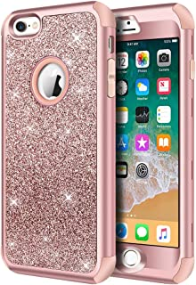iPhone 6s Case, iPhone 6 Case, Hython Heavy Duty Full-body Defender Protective Case Bling Glitter Sparkle Hard Shell Armor Hybrid Shockproof Rubber Bumper Cover for iPhone 6 and 6s 4.7-Inch, Rose Gold
