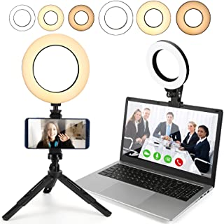 Video Conference Lighting,2-Pack, Ring Light with Tripod Stand & Clamp for Laptop Computer/Webcam/Zoom Meetings/Video Call...