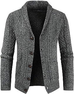 PANBOB Men's Cardigan Knitwear Men's Comfortable Elegant Single Breasted Lapel Long Sleeve Men's Top Crochet Knit Cardigan...