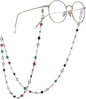 fishhook Delicate Eyeglasses Holder Chain Sunglasses Reading Glasses Strap Holder Colorful Beaded Chain Keeper Lanyard for Women Men Girls Grandma