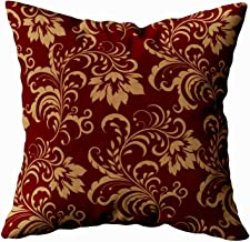 Musesh maroon gold floral swirl Cushions Case Throw Pillow Cover For Sofa Home Decorative Pillowslip Gift Ideas Household Pillowcase Zippered Pillow Covers 18x18Inch
