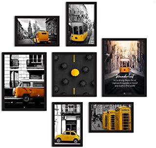 Painting Mantra Set of 7 Framed Poster Art Print -Tram Travel -Multicolored, Art Print for Living Room (2 Units A3, 4 Unit...