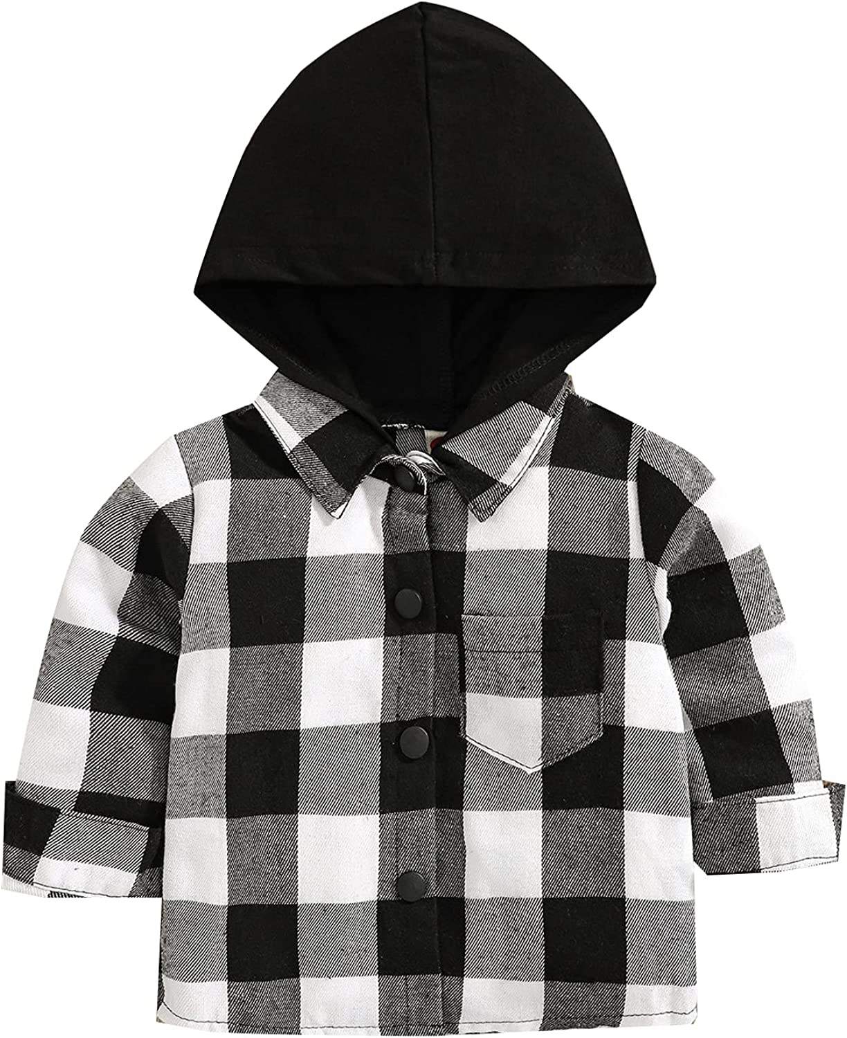 Toddler Baby Boys Girls Hooded Plaid Shirt Hooded Jacket Classic Button Down Shirt Kids Fall Winter Clothes Outfits