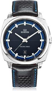 スイス製 Marvin 石英ムーブメント ステンレスケース ブルーとブラックの文字盤 ブラックレザーストラップ 男性 メンズ ファッション腕時計