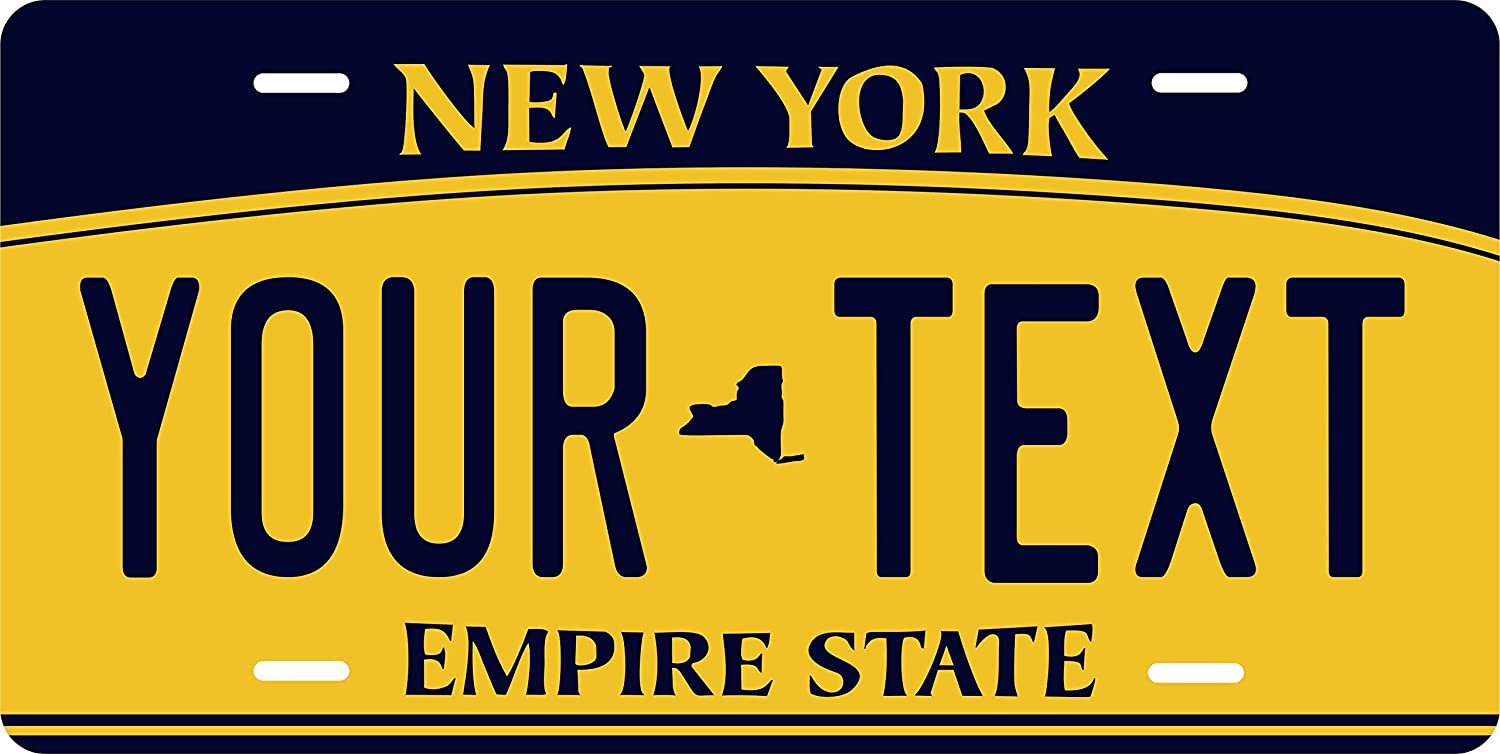 PhotoZoneGa 50 State Personalized Custom Novelty Tag Vehicle Auto Car Bike Bicycle Motorcycle Moped Key Chain License Plate (New York 2010)