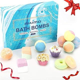 AKIMO 12 Pack Large Bath Bombs Set, Natural Bath Bomb Kit, Pure Essential Oils Bubble Bath for Moisturizing Dry Skin, Spa ...