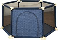 Baby playpen-SYY Toddler Fence Easy To Install And Washable Polygonal Design Stable Structure Material Safety?blue (Color : +nothing, Size : L)