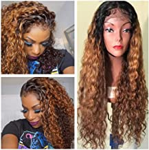 150% Density Lace Front Human Hair Wigs 8A Pre Plucked Deep Wave Curl Full Lace Human Hair Wigs Ombre Blond Color For Black Women (16 Inch , Lace Front Wig)