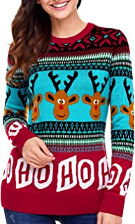 Women's Ugly Christmas Sweater Reindeer Snowman Snowflakes Xmas Long Sleeve Knit Sweaters Pullover Tops