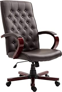 Vinsetto Faux Leather Wooden High Back Executive Home Office Chair - Brown
