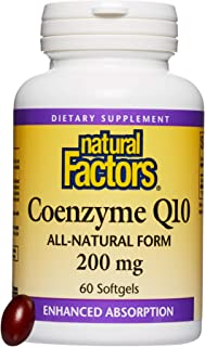 Natural Factors, Coenzyme Q10 200 mg, Antioxidant Support for Healthy Cellular Energy and Heart Function, 60 softgels (60 servings)