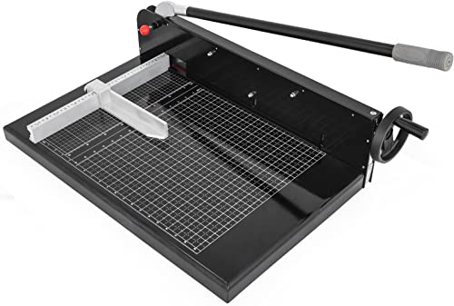 lowest Mophorn Paper outlet online sale Cutter 19Inch A2 Commercial Heavy Duty Guillotine Trimmer 300 Sheets 45HRC Hardness Paper Trimmer Metal Base Desktop Stack Cutter for Home Office outlet online sale (A2, 19Inch) sale