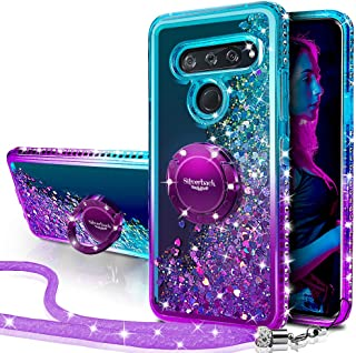 LG V40 Case, LG V40 ThinQ Case, Silverback Moving Liquid Holographic Sparkle Glitter Case with Kickstand, Bling Diamond Bu...