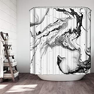 OCCIGANT Shower Curtain Black and White Marble Pattern Like Blooming Ink Durable Waterproof Polyester Fabric Bathroom Set with Hooks 72