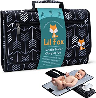 Portable Diaper Changing Pad by Lil Fox | Waterproof Portable Changing Pad for Moms, Dads and Babies | Use just One Hand; Memory Foam Baby Head Pillow; Pockets for Diapers, Wipes and Creams