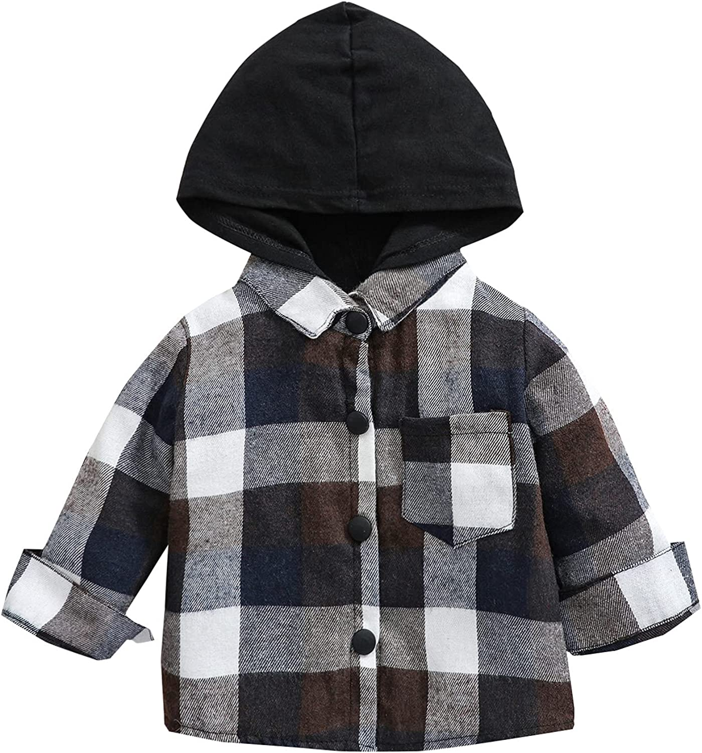 Kids Little Boys Girls Baby Long Sleeve Button Down Hooded Plaid Shirt Red Plaid Flannel Outfits: Clothing, Shoes & Jewelry