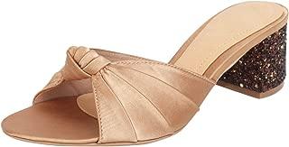 Catwalk Women's Glitter Heel Bow Slip Ons