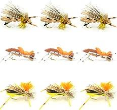 Grasshopper Trout Fly Fishing Flies Assortment Dropper Hopper Foam Body - 9 Flies 3 Patterns Hook Size 10 - Trout Fly Collection