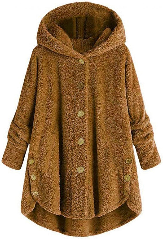 Women's Thicken Fuzzy Fleece Jacket Outwear Hoodie Overcoat Button Windproof Coat Tail Hooded Pullover Loose Sweathirt