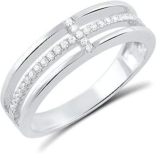 Sterling Silver Cz Sideways Cross Ring (Size 4-10)