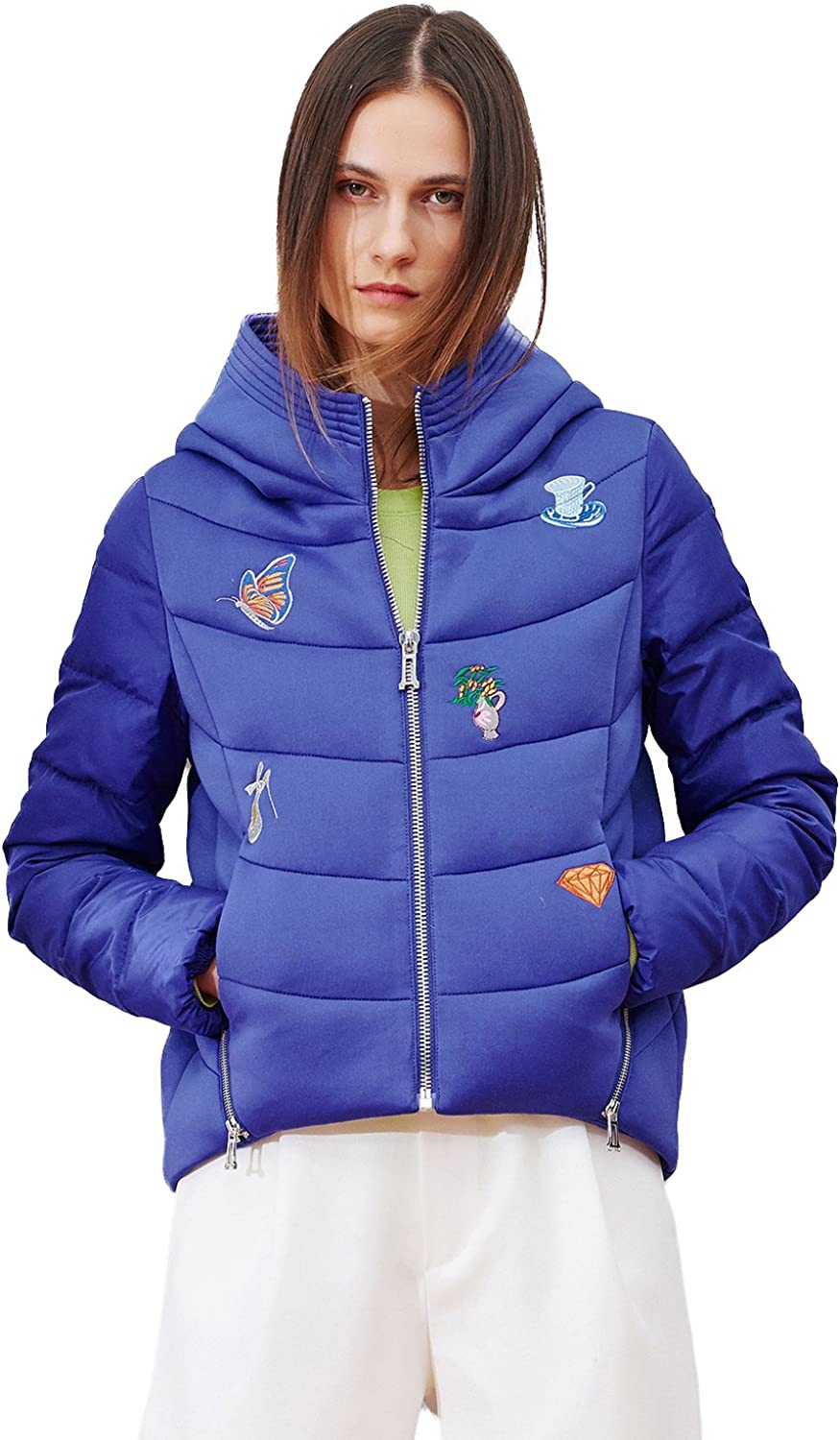 BOSIDENG Women's Winter Down Jacket Thick Hiphop Windproof Hooded Embroidery Regular Top Ultra Light Slim Outerwear