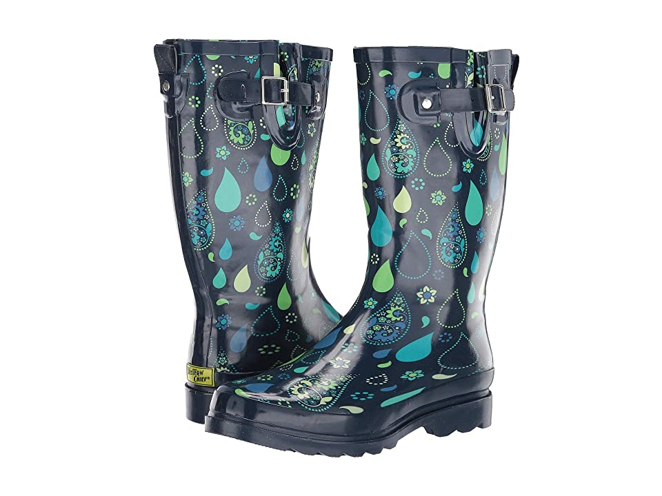 Western Chief Pouring Paisley Rain Boot (Navy) Women