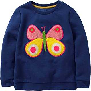 Girls Cotton Crewneck Cute Embroidery Sweatshirts