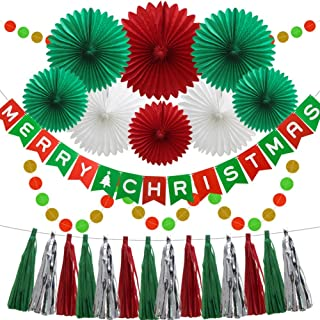 Christmas New Year Hanging Party Decoration Kit, Tissue Paper Honeycomb Fans Festival Banner Circle Bunting Tassel Garland for Christmas Party Birthday Event Decorations Red Green White