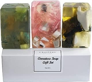 Charlene New York Handmade Soap Rock Gift Set For Body Or Face - Moisturizing Glycerin Gemstone Soap For Women Birthdays, Anniversaries, Christmas Gifts, Moms, Bathroom Decoration 4 Oz Each 3 Pack