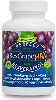 Perfect ResGrape Max ~ 99% Trans-Resveratrol & Muscadine Grape ~ Anti-Aging Supplement & Potent Antioxidant ~ 60 Vegetable...