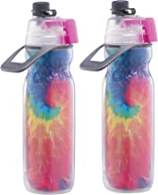 2 PACK O2COOL Mist N' Sip Insulated Bottle With Fine Misting Function - Tie Dye, 20 oz
