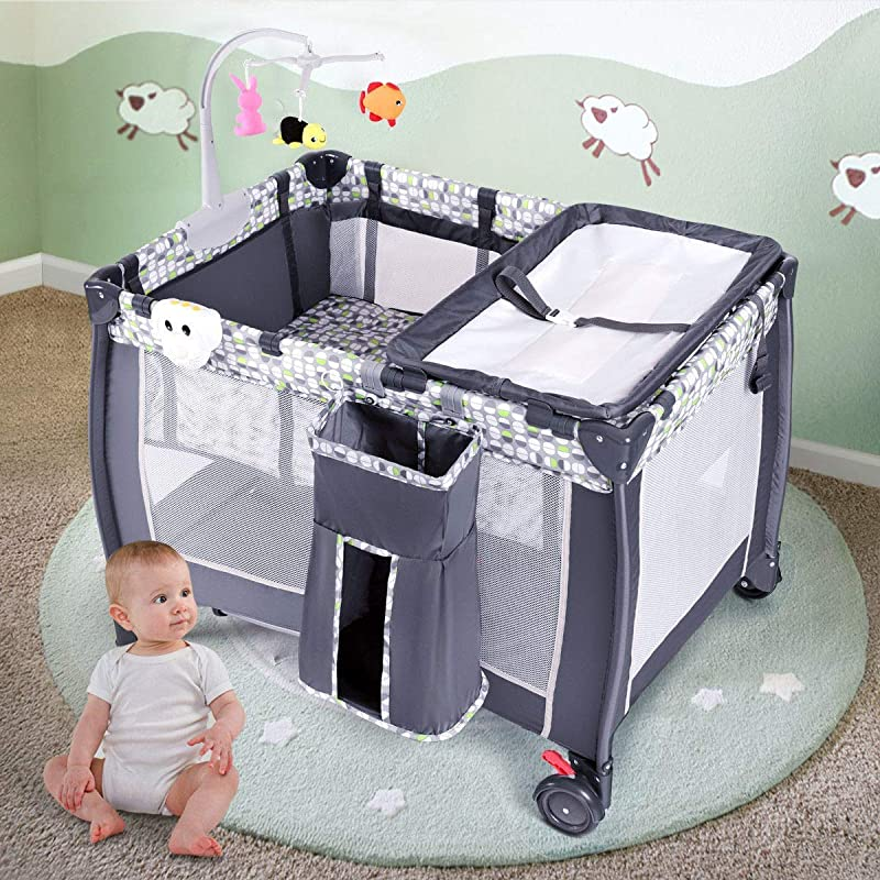 Costzon Baby Playard 3 In 1 Convertible Playpen With Bassinet Changing Table Foldable Bassinet Bed With Music Box Whirling Toys Wheels Brake Large Capacity Basket Oxford Carry Bag Grey