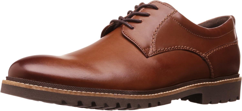 Rockport Men's Marshall Plain Toe Oxford, Dark Brown Leather, 7 W US