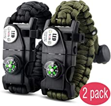 IMPHOM Survival Bracelet Paracord Military Buckle Tool Adjustable Rope Accessories Kit, Fire Starter, Knife, Compass, LED Light,Whistle,for Fishing Hiking Travel Camp(2pcs)