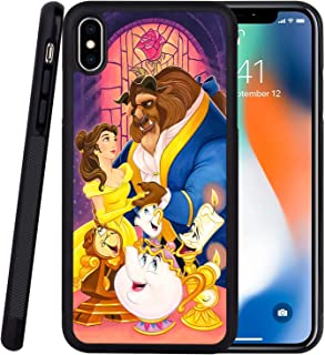 DISNEY COLLECTION Phone Case Compatible iPhone Xs iPhone X Case Beauty and The Beast Reinforced Drop Protection Hard PC Back Flexible TPU Bumper Protective Case for iPhone XS/X/10 5.5 Inch