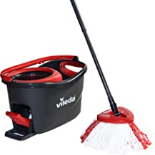 Vileda Turbo Microfibre Mop and Bucket Set, Plastic, Grey/Red, 48.5 x 27.5 x 28 cm
