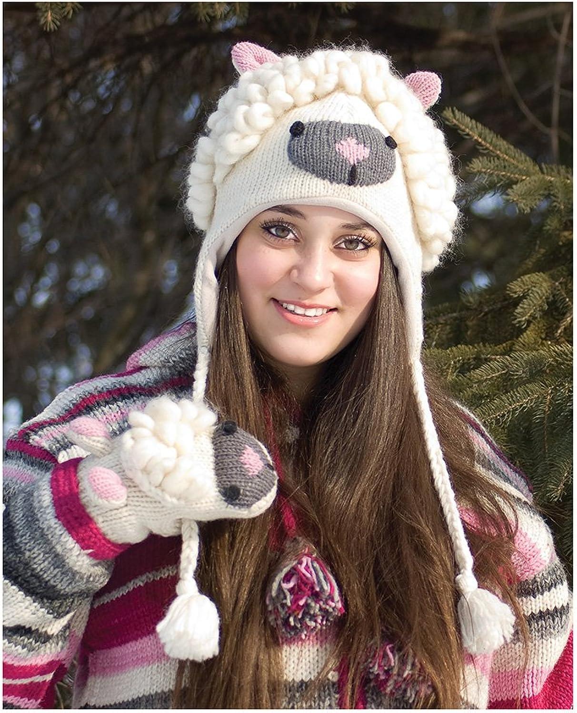 100% Wool Lamb Soft Polar Fleece Lined Ski Hat & Mittens Set