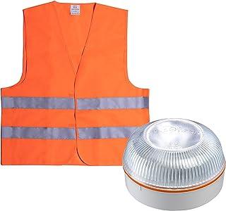 HELP FLASH PK2701 luz Emergencia AUTÓNOMA, señal preseñalización Peligro+Linterna, normativa DGT, V16, Base imantada, acti...