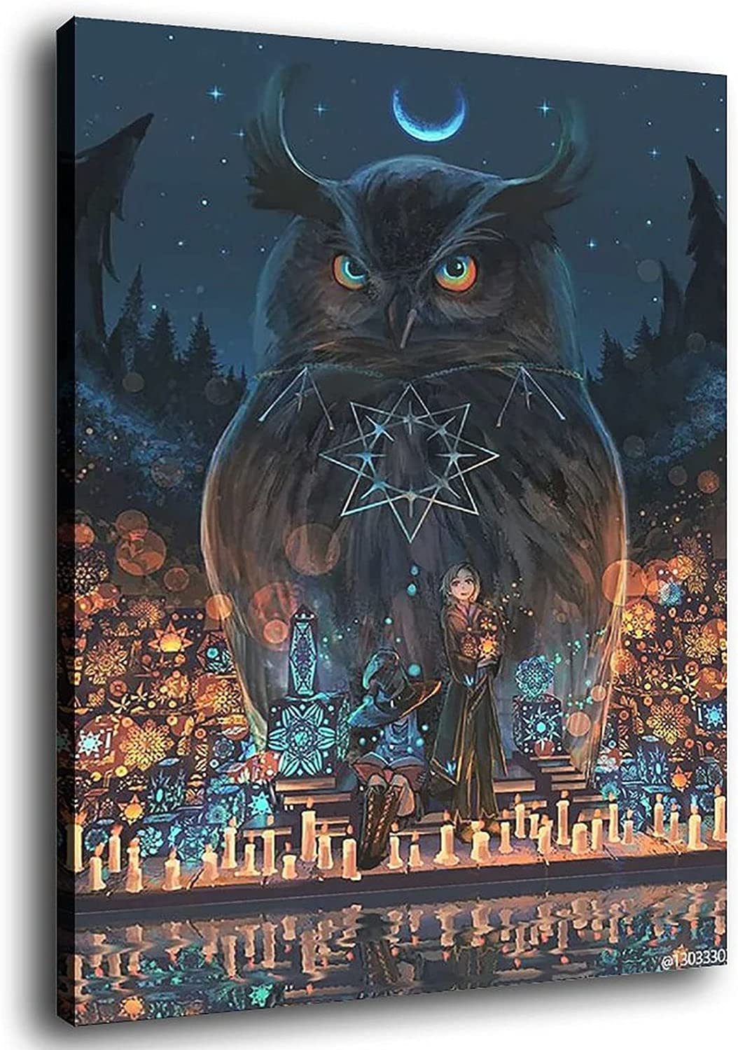 LEODO Halloween Poster Fantasy Owl Canvas House W and Popular standard Art Fort Worth Mall