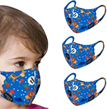 Children's Face Macks Washable Reusable Outdoor Face Bandanas Cute Pattern Dust Mouth Shield for Kids Boys Girls 3pc儿童纯棉可水洗防尘防雾霾 蓝色 happy life