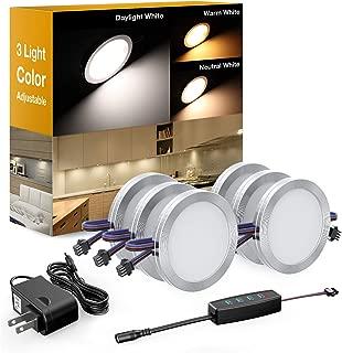 Onforu LED Under Cabinet Lighting Kit, Dimmable LED Puck Lights, 3 Adjustable Lights Color 1080lm, Warm/Daylight/Neutral White Under Counter Lights, DC 12V Closet Lights, Stick On Lights 6 Pack