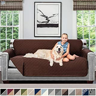 Sofa Shield Original Patent Pending Reversible Sofa Slipcover, 2 Inch Strap Hook, Seat Width Up to 70 Inch Furniture Protector, Couch Slip Cover Throw for Pets, Kids, Cats, Sofa, Chocolate Chocolate