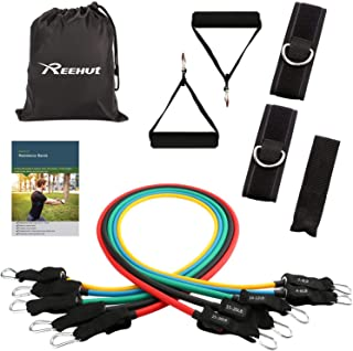 Reehut Resistance Bands Set (12pcs) - with 5 Exercise Bands, Door Anchor, Handles, Carry Bag, Legs Ankle Straps & Manual for Resistance Training, Physical Therapy, Home Workouts