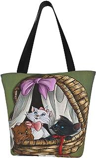 DAWN&ROSE A-risto-cats Animationstasche/Tragetasche/Damen-Schulterhandtaschen, große Kapazität, Einkaufstasche, Segeltuch-Handtaschen, lässige Damen-Einkaufstasche, tragbares Gurtband, robust und langlebig