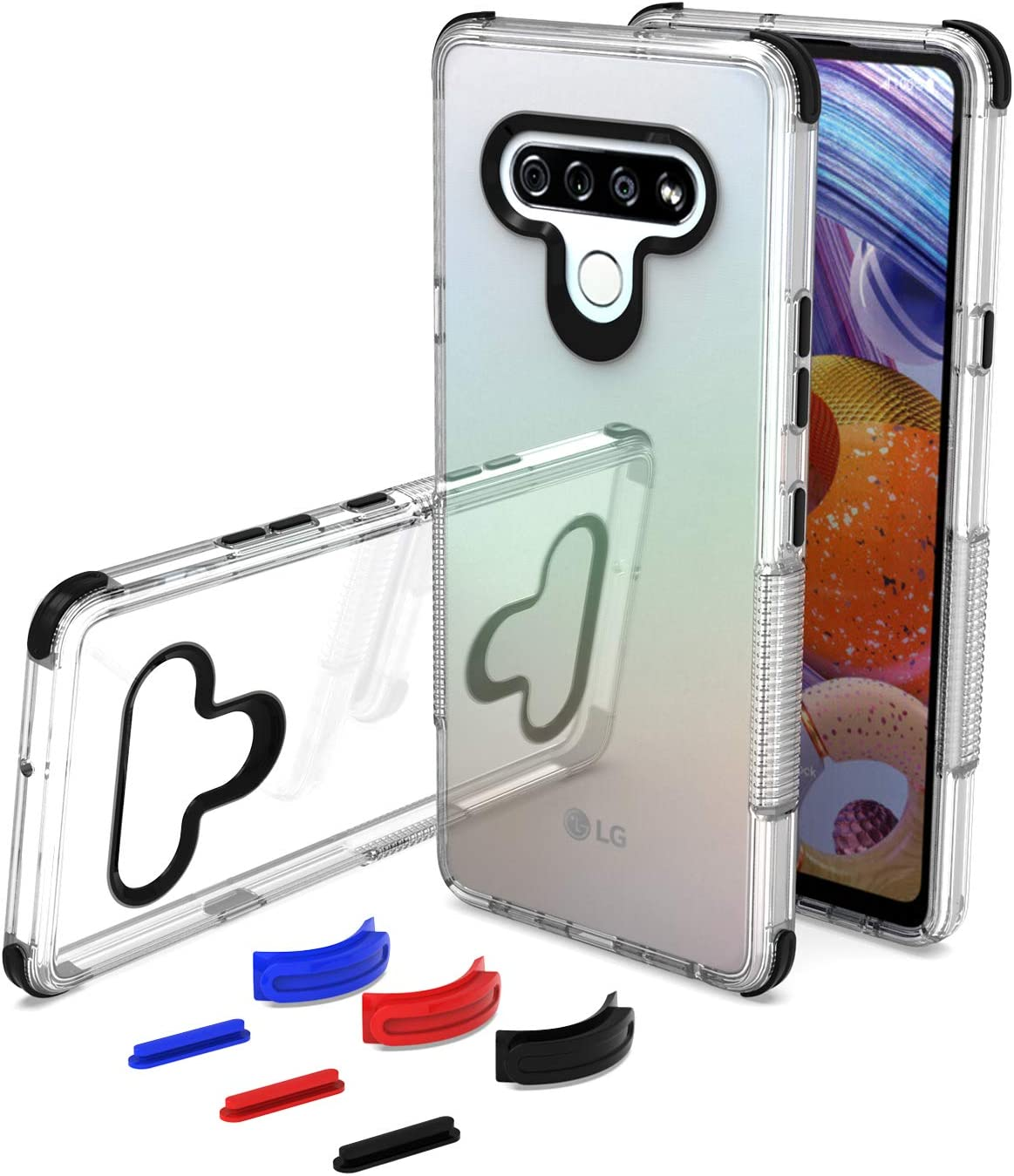 UNC Pro DIY Package Cell Phone Case for LG Stylo 6, Soft Clear TPU Hybrid Case, Shockproof Bumper Cover, Black/Blue/Red