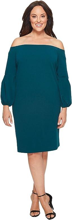Vince Camuto Specialty Size - Plus Size Off Shoulder Bubble Sleeve Crepe Ponte Dress